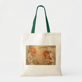 Vintage Music Victorian Angel Musicians Flute Harp Canvas Bags