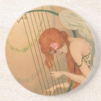 Vintage Music Victorian Angel Musicians Flute Harp Coasters
