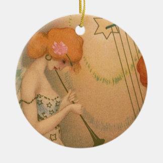 Vintage Music Victorian Angel Musicians Flute Harp Christmas Tree Ornament