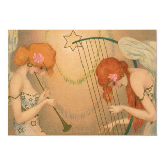 Vintage Music Victorian Angel Musicians Flute Harp Custom Invitations
