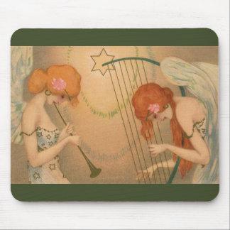 Vintage Music Victorian Angel Musicians Flute Harp Mousepad