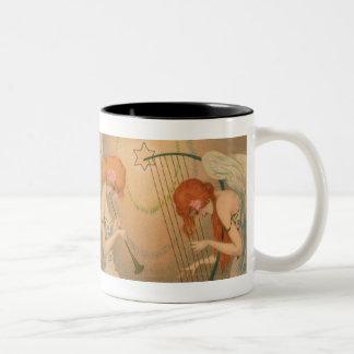 Vintage Music Victorian Angel Musicians Flute Harp Coffee Mugs