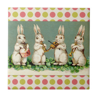 Vintage Musical Bunnies Small Square Tile