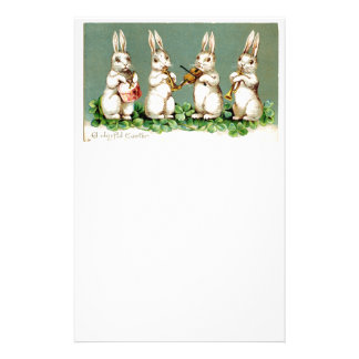Vintage Musical Bunnies Personalized Stationery