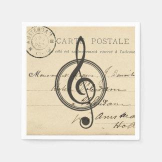 Vintage Musical Clef French Postcard Napkin Paper Serviettes