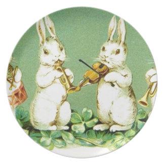 Vintage Musical Easter Bunnies Plate