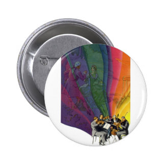 Vintage Musical Rainbow Man Woman Dancing Buttons