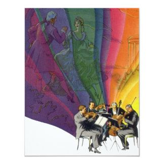 Vintage Musical Rainbow, Man Woman Dancing Personalized Announcement
