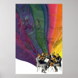 Vintage Musical Rainbow Man Woman Dancing Print