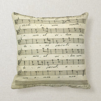 Vintage Musical Score 1810; Antique Sheet Music Throw Pillows