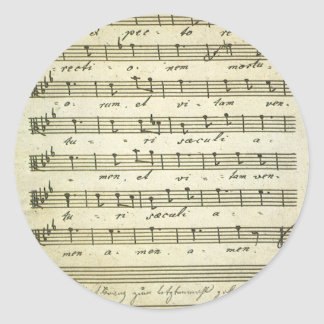Vintage Musical Score 1810; Antique Sheet Music Round Stickers
