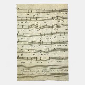 Vintage Musical Score 1810; Antique Sheet Music Hand Towels
