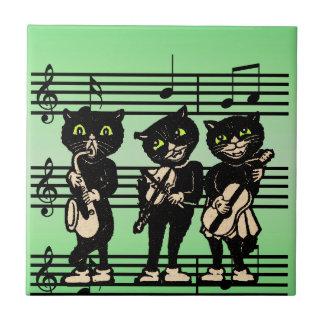 Vintage Musician Black Cats Music Notes Tile