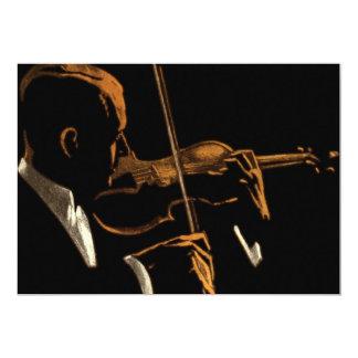 Vintage Musician, Violinist Playing Violin Music Card