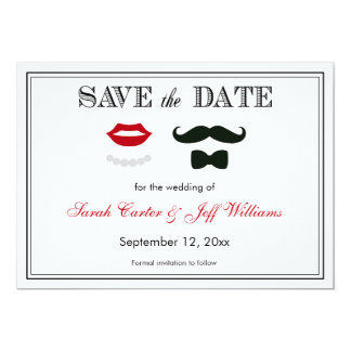 Vintage Mustache and Lips Save the Date Cards 13 Cm X 18 Cm Invitation Card