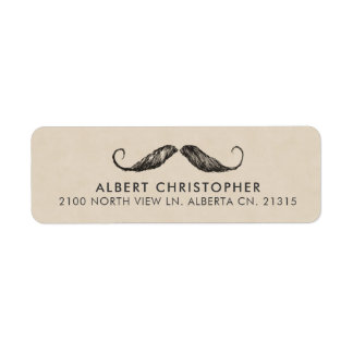 Vintage Mustache Return Address Label