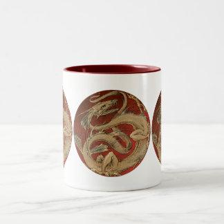 Vintage Mythology, Antique Golden Asian Dragon Two-Tone Coffee Mug