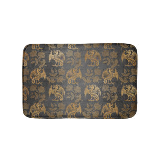 Vintage Mythology Fantasy Dragon Wallpaper Bath Mat