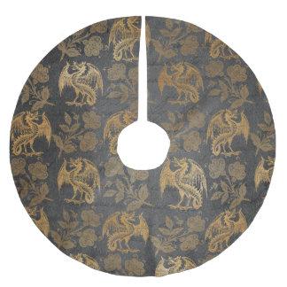 Vintage Mythology Fantasy Dragon Wallpaper Brushed Polyester Tree Skirt