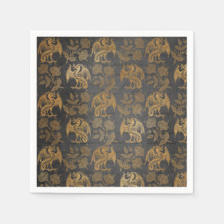 Vintage Mythology Fantasy Dragon Wallpaper Disposable Serviette