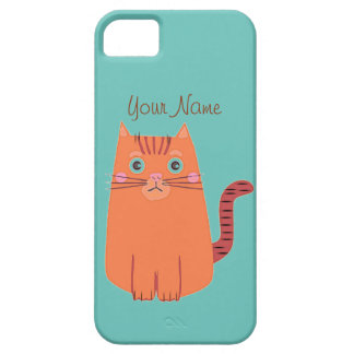 Vintage Naive Cartoon Orange Tabby Cat iPhone 5 Covers
