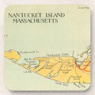 Vintage Nantucket Map Coaster