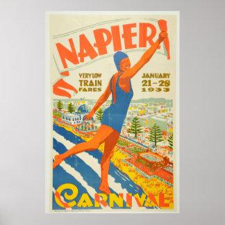 Vintage Napier Carnival New Zealand Travel Poster