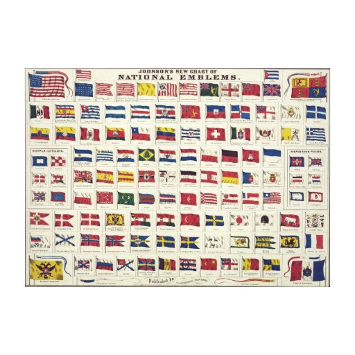 Vintage National Flags Chart - created 1863 Gallery Wrap Canvas