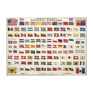 Vintage National Flags Chart - created 1863 Canvas Prints