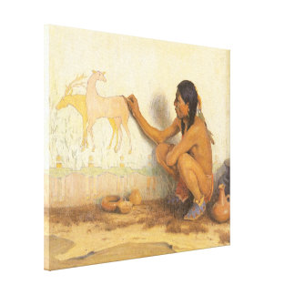 Vintage Native American, Indian Artist by Couse Canvas Prints