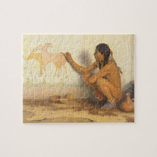 Vintage Native American, Indian Artist by Couse Jigsaw Puzzle