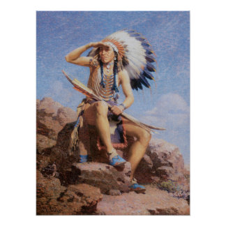 Vintage Native American Indian, The Scout by Leigh Poster