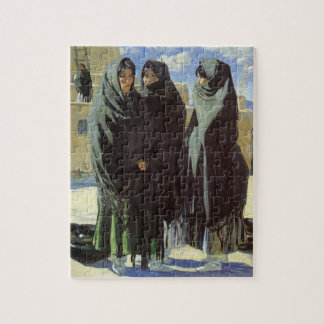 Vintage Native American, Taos Girls by Walter Ufer Jigsaw Puzzle