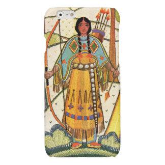 Vintage Native American Woman Village Forest