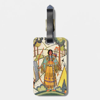Vintage Native American Woman Village Forest Bag Tags