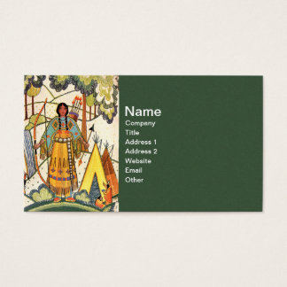 Vintage Native American Woman Village Forest Business Card