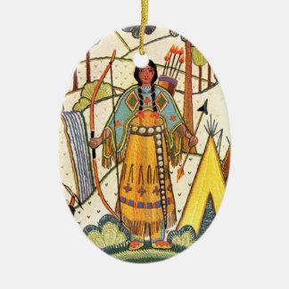 Vintage Native American Woman Village Forest Ceramic Oval Decoration