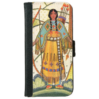 Vintage Native American Woman Village Forest iPhone 6 Wallet Case
