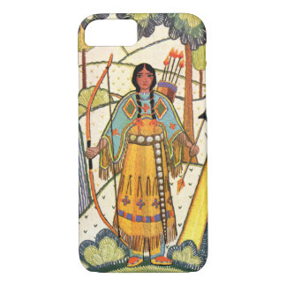 Vintage Native American Woman Village Forest iPhone 7 Case