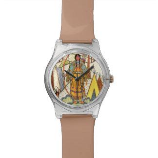 Vintage Native American Woman Village Forest Wrist Watches