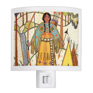 Vintage Native American Woman Village Forest Night Lights