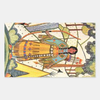 Vintage Native American Woman Village Forest Rectangular Sticker