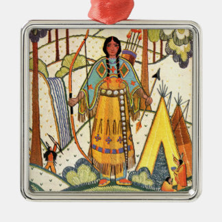 Vintage Native American Woman Village Forest Silver-Colored Square Decoration