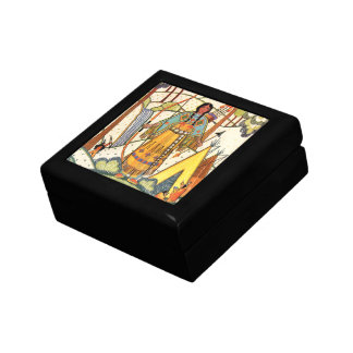 Vintage Native American Woman Village Forest Small Square Gift Box