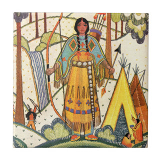 Vintage Native American Woman Village Forest Small Square Tile