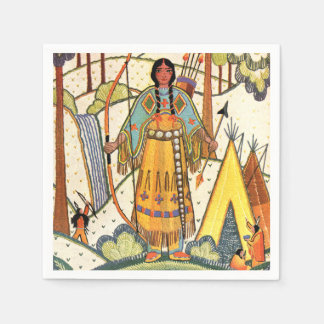 Vintage Native American Woman Village Forest Disposable Napkin