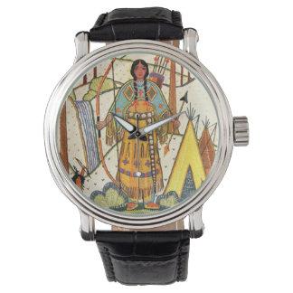 Vintage Native American Woman Village Forest Watch
