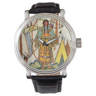 Vintage Native American Woman Village Forest Watches
