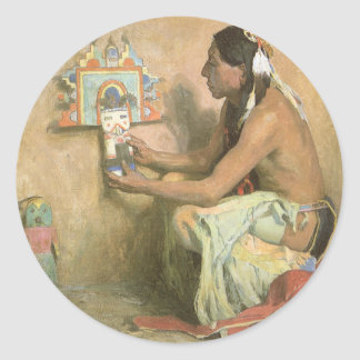 Vintage Native Americans, Hopi Katchina by Couse Classic Round Sticker