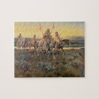 Vintage Native Americans, Piegans by CM Russell Jigsaw Puzzle